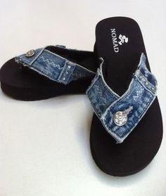 Reclaimed Blue Jean Denim Flip Flops