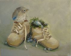 """""""Stepping Out""""  baby blueBird Shoes painting original art ooak FREE usa shipping.  via Etsy.  sold"""