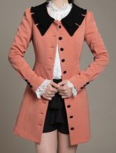 Pink Contrast Lapel Long Sleeve Buttons Trench Coat $33.28