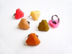 Clay Diamond Ring Geometric Polymer Clay Ring by AlinaandT on Etsy, $12.50