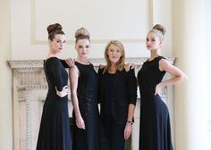 Louise Kennedy and a selection of bespoke evening gowns modelled by Karen Fitzpatrick, Sarah Morrissey and Thalia Heffernan