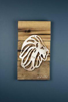 Alpha Delta Pi Lion Reclaimed Wood & Shaped Metal Art