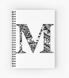 Print of a hand drawn Mandala letter & Doodle Art Drawing, Zentangle Drawings, Mandala Drawing, Calligraphy Fonts Alphabet, Doodle Alphabet, Mandala Art Lesson, M Letter, Watercolor Quote, Diy Notebook