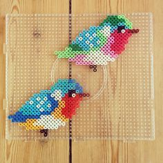 Birds hama perler beads by evatonning - Diy and crafts interests Perler Bead Templates, Pearler Bead Patterns, Diy Perler Beads, Perler Bead Art, Perler Patterns, Pearler Beads, Fuse Beads, Arte 8 Bits, Pixel Beads