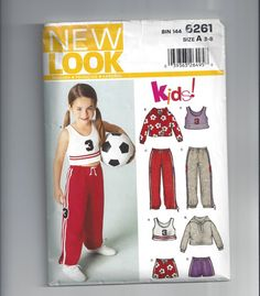 New Look 6261 Pattern for Kids' Athletic Ensemble with Top, Pants, Sweatshirt, Shorts, Sizes 3 to 8, UnCUT, by Simplicity, from 2003 by VictorianWardrobe on Etsy