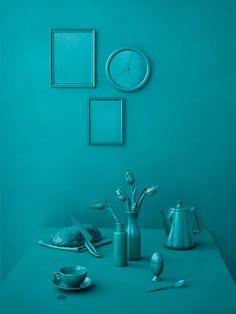 Monochrome still life in green-blue