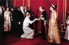 Princess Grace and Prince Rainier greet the Shah of Iran and Empress Farah