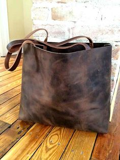 Dark Brown Leather Tote Bag  Marbleized Brown Leather by sord, $250.00
