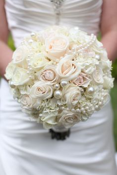 My bouquet - All white seasonal flowers and pearls, pearls, pearls!