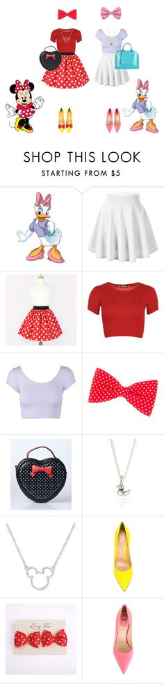 """""""Best Friends: Minnie & Daisy"""" by janastasiagg ❤ liked on Polyvore featuring RoomMates Decor, WearAll, Bug, Disney, Gianvito Rossi, Fendi, Louis Vuitton, disney and disneybound"""
