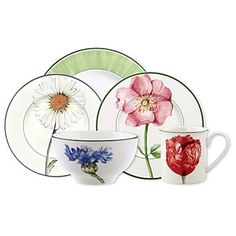 """Villeroy & Boch """"Flora"""" Dinnerware Home - Dining & Entertaining - Bloomingdale's Ceramic Painting, Fabric Painting, Dinnerware Inspiration, Glass Fusing Projects, Dinnerware Sets, Ceramic Plates, Vintage Tea, China Porcelain, Tea Cup Saucer"""