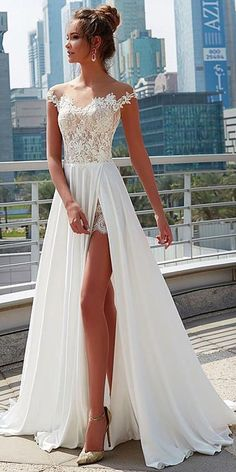 Charming Lace Satin Chiffon Sheer Jewel Neckline A-Line Wedding Dress With Lace Appliques Slit preserving wedding dress/flowy wedding dresses/satin wedding dress/highneck wedding dresses/beach wedding dress/ Western Wedding Dresses, Lace Wedding Dress, Colored Wedding Dresses, Perfect Wedding Dress, Dream Wedding Dresses, Bridal Dresses, Maxi Dresses, Summer Dresses, Wedding Reception Dresses