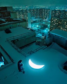"✯ Russia-based artist Leonid Tishkov and photographer Boris Bendikov have collaborated to created a series titled Private Moon, which chronicles the relationship between a man and the illuminated planet. Tishkov calls this installation a ""visual poem, telling the story about a man who found the Moon and stayed with her for the rest of his life.""✯"
