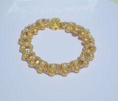 Golden Dreams Bracelet/  Stardust Gold, Glass and Pearl Bracelet/ Hand Beaded/ Bride Wedding Jewelry