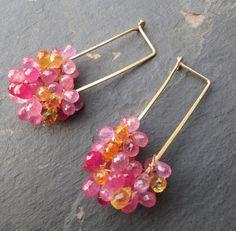 Pink yellow and orange sapphire earrings 14k by seafairiesjewelbox