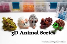 Animal Series by Elegant Fashion Loom mouse, turtles, and chameleons Figures/Charms Rainbow Loom Tutorials, Rainbow Loom Patterns, Rainbow Loom Creations, Loom Band Animals, Rainbow Loom Animals, Rainbow Loom Charms, Rainbow Loom Bracelets, Chameleon Craft, Crazy Loom