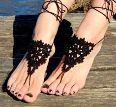 Crochet Barefoot Sandals Beach Shoes Wedding by luludress on Etsy