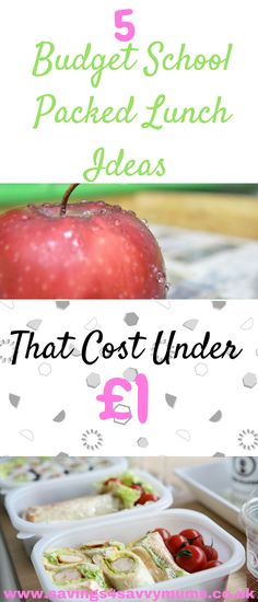 5 budget school packed lunch ideas that cost under £1 with a grocery shopping list. Easy and cheap lunch ideas for the whole family.