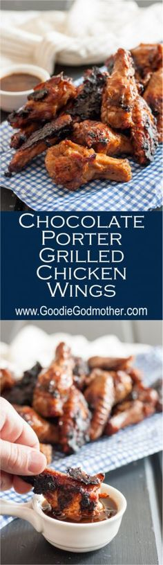 Chocolate porter grilled chicken wings are sweet and smoky with a hint of heat. A perfect unique grilled chicken wing recipe to enjoy this summer! Beer Recipes, Grilling Recipes, Starter Dishes, Grilled Chicken Wings, Cooking With Beer, Easy Appetizer Recipes, Appetizers, Dinner Recipes, Good Food