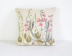 Vintage Swedish Pillow Hand Embroidered Scandinavian Textile Art Flower Decoration Country Style Bellflower on Linen Flower Meadow by Wohnstadt