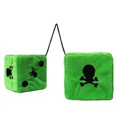 How about skull furry dice to give your ride that alternative look Plush furry dice with skull detail to hang over your rear view mirror http://www.badsheepboutique.com/skull-furry-dice---green-271-p.asp