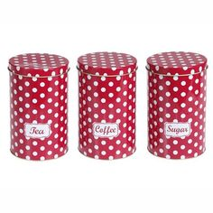 Tea Coffee Sugar Polka Dot Canister Set From Www Mollieandfred Red And White Kitchenred