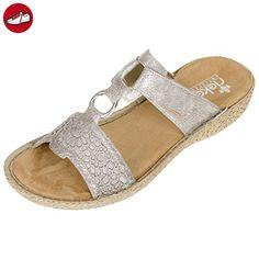 Rieker Damen Pantoletten Silber/Grau (Metallic), Schuhgröße:EUR 38