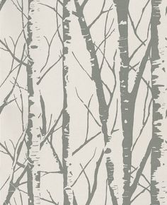 Aspen (1900/021) - Prestigious Wallpapers - A two colour design giving the shadowy effect of a grove of Aspen trees.  Shown here in metallic silver on gloss pearl white. Please ask if you want info on the other colours. Please ask for a sample for true colour match.