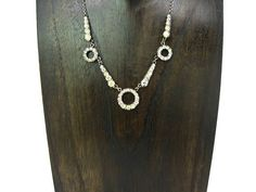 Art Deco Necklace. Geometric Circles & Rays. Vintage Sterling