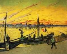 Vincent Van Gogh - Coal Barges. August 1888.