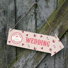 Personalised Wedding Direction Sign  by Plantabox