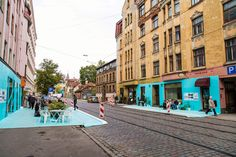 Frustrated with the car centric planning approach in their city, the 'Fine Young Urbanists' decided to take matters into their own hands, building a 1:1 mockup to show the potential of a possible future streetscape, Riga, Latvia