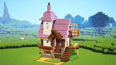 How to build a Alchemist's House in minecraft. Easy minecraft building system with house. Minecraft easy A. Minecraft Villa, Minecraft Shops, Minecraft Building Guide, Minecraft Mansion, Minecraft Cottage, Minecraft Structures, Easy Minecraft Houses, Minecraft House Tutorials, Minecraft Room