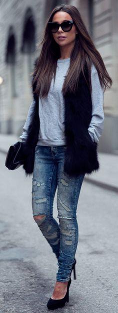 Johanna Olsson is wearing the faux fur vest trend