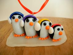 Penguin Family Ornament, Custom Family Size Polymer Clay Christmas Ornament. $19.99, via Etsy.