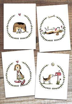 Beagle dog greeting cards set of 4 illustration by laurathedrawer