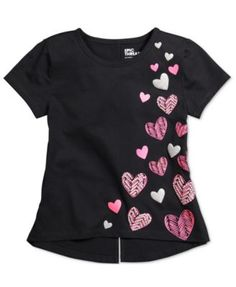 Epic Threads Mix and Match Hearts Graphic T-Shirt, Toddler & Little Girls Only at Macy's - Black 5 Fabric Paint Shirt, Paint Shirts, T Shirt Painting, Baby Girl Party Dresses, Little Girl Dresses, Sewing Clothes, Diy Clothes, T Shirt Remake, Shirt Print Design