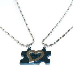 """Couple's Stainless Steel Necklace High Polished Heart Puzzle Valentine's Day Pendant Necklace. Lover's Promise Pendant Cool Blue with a Pair of 20"""" Necklace (Jewelry)  http://kohlerapronsink.com/amazonimage.php?p=B0074RPLY2  B0074RPLY2"""