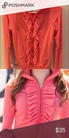 Xs evystree coral simple EUC Xs Evystree coral simple Like New condition. Has a super soft luxurious fabric. Ruffle front with collar and thumb holes. Perfect spring hoodie! evystree Tops Sweatshirts & Hoodies