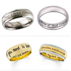 Quotes engraved wedding rings