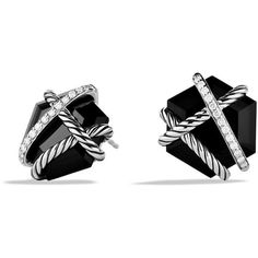 David Yurman Cable Wrap Earrings with Diamonds (41,875 PHP) ❤ liked on Polyvore featuring jewelry, earrings, accessories, apparel & accessories, black onyx, wrap jewelry, david yurman, david yurman jewelry, david yurman jewellery and pave diamond jewelry