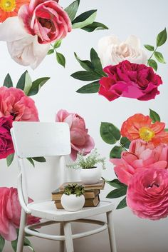 Pink orange and white vinyl flowers wall decals on a white wall creating a flower wallpaper effect. Each floral features graphic like detail with and a variety of white and bright pink shades with a hint of green in the leaves. Cute Wall Decor, Frame Wall Decor, Nursery Wall Decor, Wall Décor, Bedroom Wall, Bedroom Ideas, Wall Art, Bright Flowers, Large Flowers