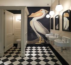 'American White Pelican, Pelecanus Erythror' Wallpaper Mural from the Natural History Museum collection. Bathroom Interior Design, Small Bathroom, White Bathroom, Bathroom Ideas, Bathroom Mural, Washroom, Wall Murals, Mural Art, Interior Inspiration