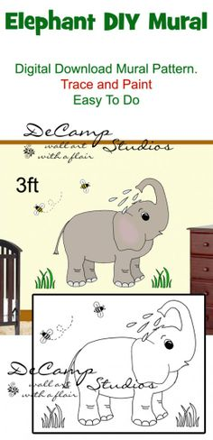 DIY Jungle Elephant Wall Art Mural Pattern Printable Digital Download for baby girl nursery or kids room decor. Do it Yourself Trace and Paint by Number. Also great for church nursery, childcare, pediatric office, and preschool #decampstudios