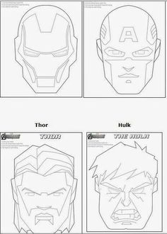 Avengers livres máscaras imprimíveis