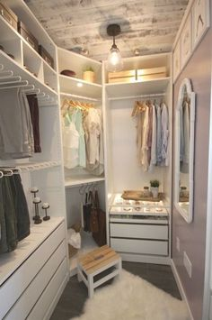 53 Ideas small master closet design walk in wardrobes Small Master Closet, Walk In Closet Small, Master Closet Design, Walk In Closet Design, Master Bedroom Closet, Small Closets, Bathroom Closet, Dream Closets, Closet Designs