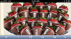 Football strawberries for Quinn's first birthday. From Shari's berries.
