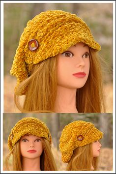 Chenille Poor Boy Hat looks amazing on. This hat fits extremely well to most of ladies and it is very easy to wear. Machine wash under delicate cycle and flat dry. This hat is great for all age groups and styles. Staying warm was never this fashionable. * popular design * one size fits all * trendy and luxurious * chenille - velvet feel *  Hand Knitted Golden Yellow, Stay Warm, One Size Fits All, Scarfs, Hand Knitting, Knitted Hats, Delicate, Velvet, Age