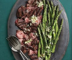 Grilled Flap Steak and Asparagus with Béarnaise Butter - Recipe - FineCooking Grilled Roast, Grilled Steak Recipes, Grilling Recipes, Beef Recipes, Cooking Recipes, Flap Meat Recipes, Grilled Food, Cooking Ideas, Yummy Recipes