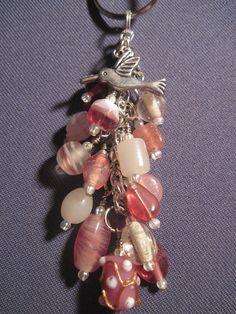 Pink Glass Bead Purse Charm / Key Chain with Hummingbird Charm.